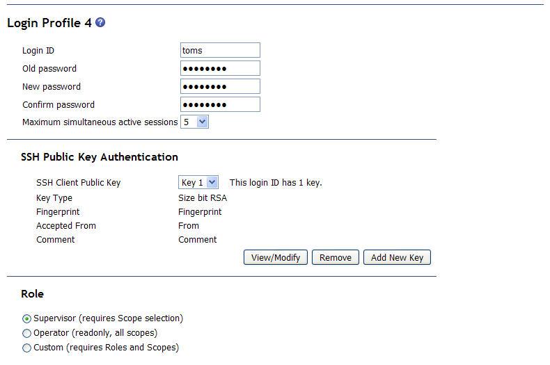 BladeCenter web interface: assigning SSH public key
