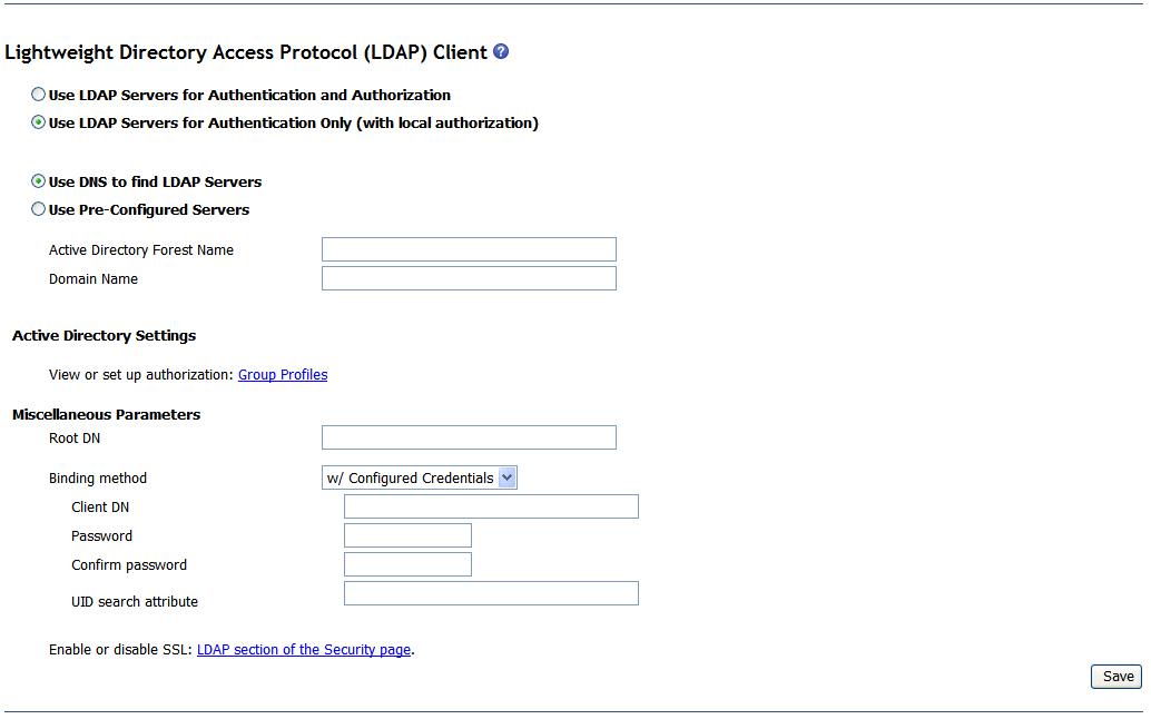 BladeCenter web interface: setting up remote LDAP