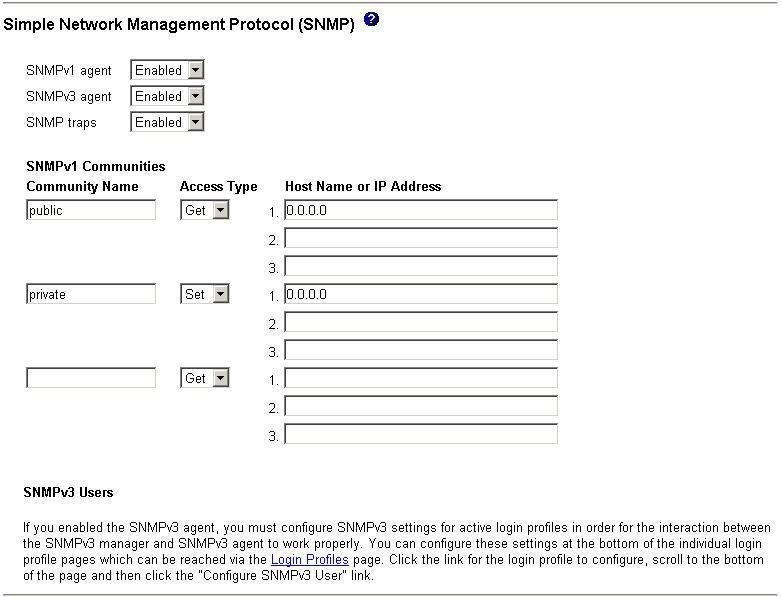 BladeCenter Web Interface: configuring SNMP